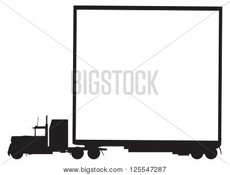 A lorry silhouette and trailer with white space isolated on a white background