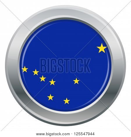 An Alaska state flag silver icon isolated on a white background