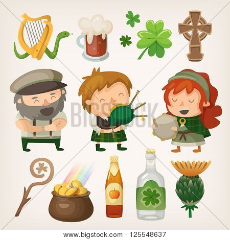 Set of colorful irish vector elements and characters