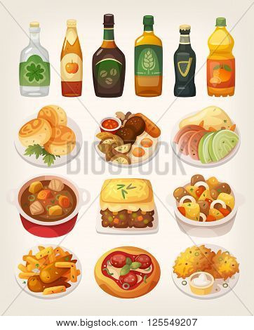 Set of delicious colorful traditional dishes from irish cuisine.