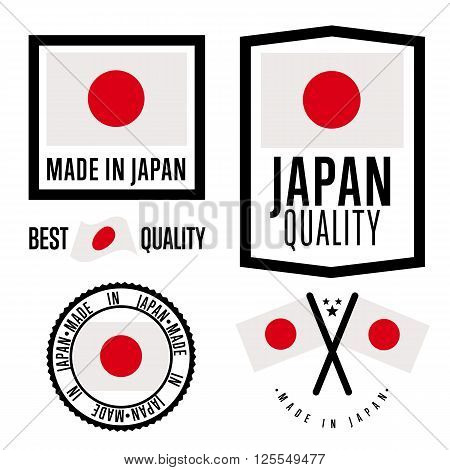 Made in Japan label set. Vector Japan flag. Symbol of quality. Manufacturing by Japan. Tags and sticker collection. Vintage and modern stamp. Japan badge set. Japan quality icon.