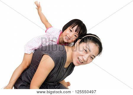 Asian Little Chinese Girl Piggyback Ride With Mother