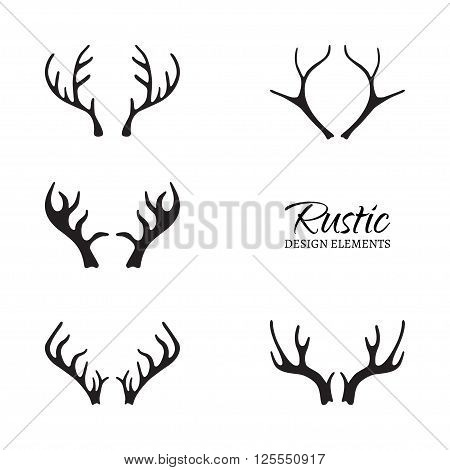 Vector illustration of antlers collection. Rustic design elements. Hand drawn antlers. Isolated on white background.