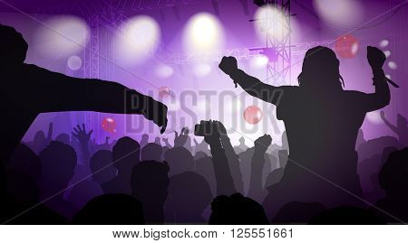 Illustration Of Music Concert With Audience