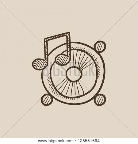 Loudspeakers with music note sketch icon.