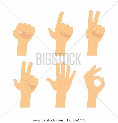 Hand  and finger sign.  Hands vector flat icons set: finger counting,   victory, ok, devil horn,  fist, greeting, pointing, tablet touch gesture isolated on white background