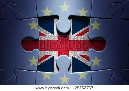 Brexit European flag jigsaw puzzle with British flag missing piece