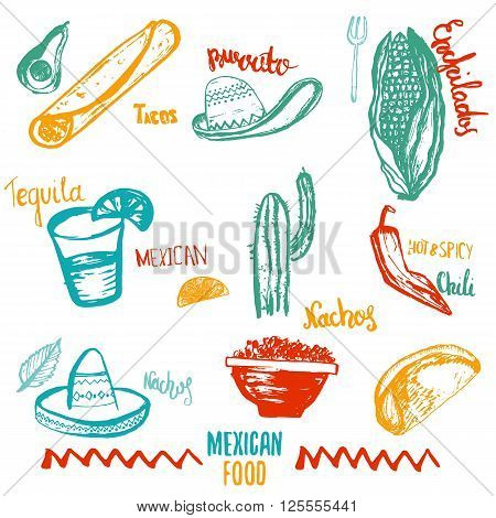 Vintage Mexican Food isolated objects with lettering. Mexican food tacos, burritos, nachos. Mexican kitchen. Can be used for restaurant, cafe wrapping