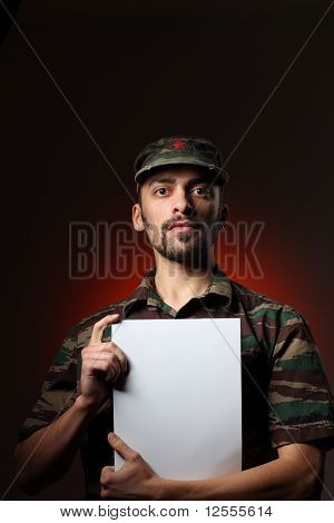 Soldier Holding White Board