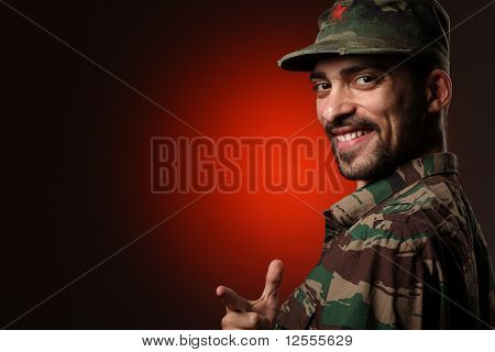 Portrait Of A Smiling Soldier