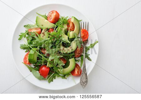 Light Salad With Avocado, Cherry Tomatoes And Arugula