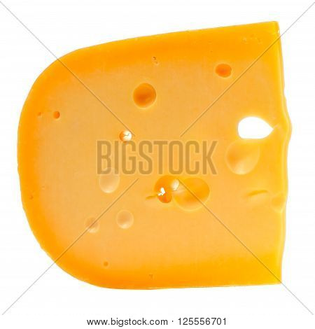 A close-up of Swiss cheese with holes isolated on a white background