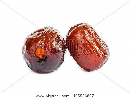 Sweet dried jujube or monkey apple asian fruit isolated on white background