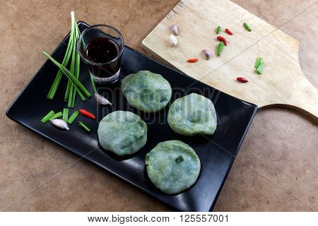 Allium tuberosum. Garlic chives with soy source. Dim sum is chinese cuisine. Dimsum.