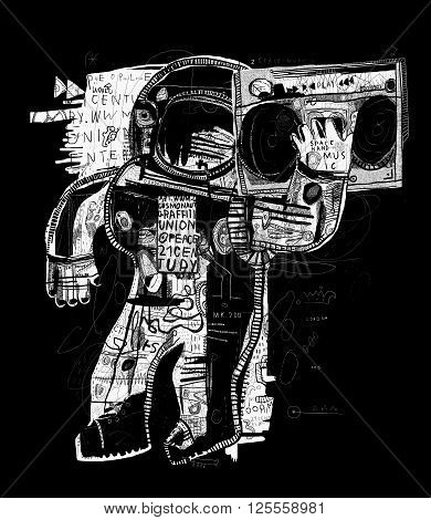 The symbolic image of the astronaut who listens to music on a tape recorder
