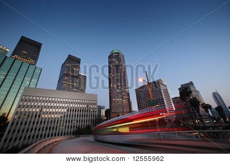 Bus Speeding In Downtown Los Angeles