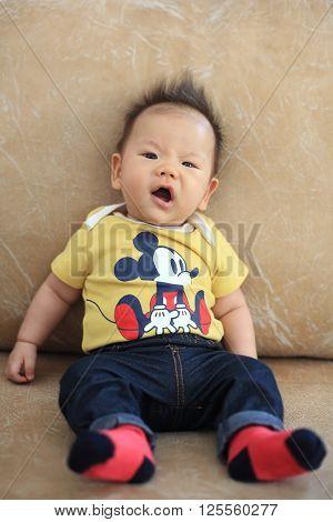 Cute Asian Boy With Spiky Hair