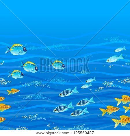 Blue Seamless Sea Background.