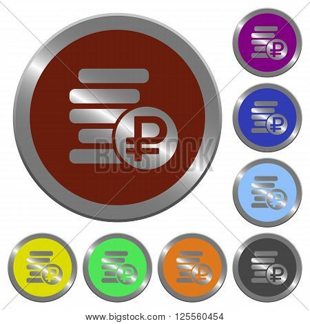 Set of color glossy coin-like ruble coins buttons.