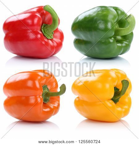 Collection Of Bell Pepper Peppers Paprika Paprikas Vegetable Isolated On White
