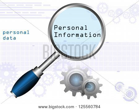Abstract colorful background with blue magnifying glass and the text personal information written under the glass