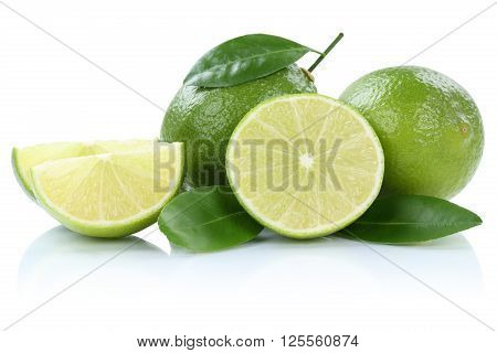 Lime Limes Fruits Isolated On White