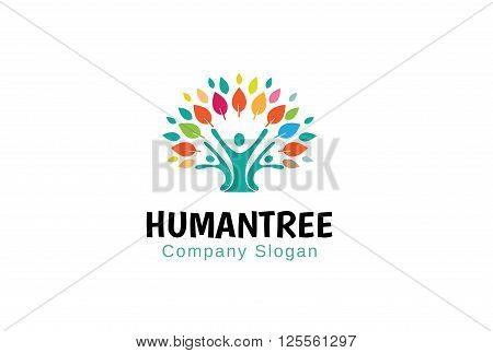 Human Tree Creative And Symbolic Logo Design Illustration