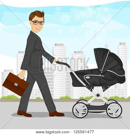 business man with briefcase pushing pram, baby carriage or stroller walking on the street
