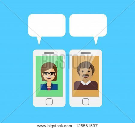 Two people chatting together template. White blank chat bubbles. Vector EPS 10 file.