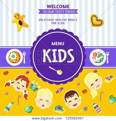Best choice baby food menu poster with healthy and delicious meals for kids flat abstract  vector illustration