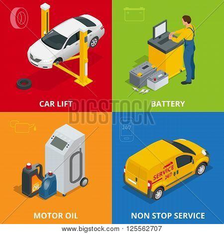Car repair concept. Tire service, meter, Auto mechanic service, maintenance car repair and working 3d flat set. Car repair mechanic illustration