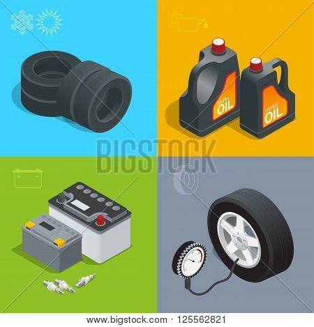 Tire service car auto, repair icons flat set isolated vector isometric illustration. Consumables for car
