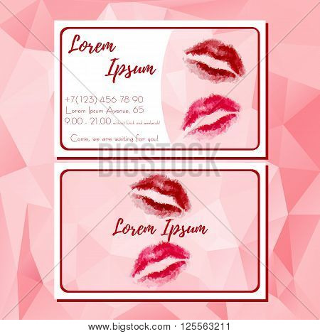 Fashion template of business card with red polygonal lips. Handbill with lips logo and contact information for cosmetics store. Design cutaway visit card in polygonal style. Vector illustration