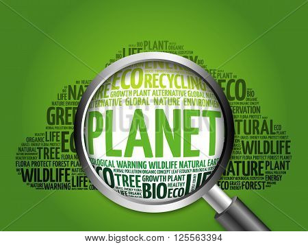 Planet Word Cloud With Magnifying Glass