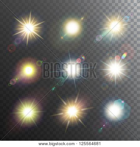 Sunshine design elements icon set glowing a semi transparent black background vector illustration