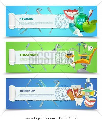 Dentist oral hygiene regular checkup and teeth decay preventing treatment 3 flat banner set abstract vector illustration