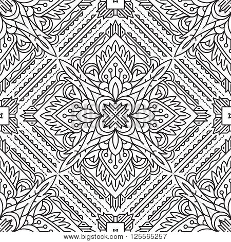 Seamless Square Abstract Tribal Black-white Pattern In Mono Line Style. Hand Drawn Ethnic Texture. C