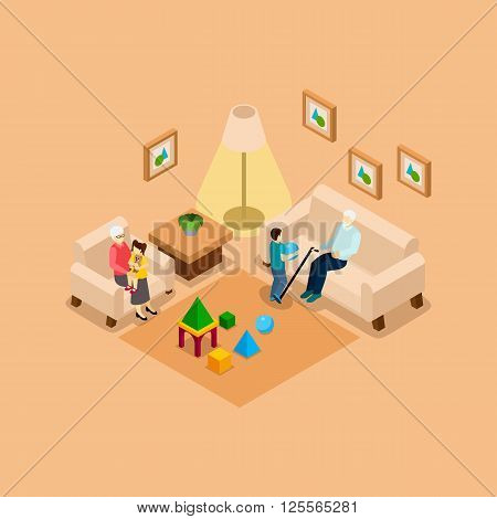 Grandparents babysitting playing with children home isometric banner with boy and girl abstract vector illustration