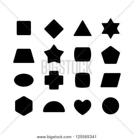 Set Of Geometric Rounded Kid Toys Shapes. Black On A White Background.