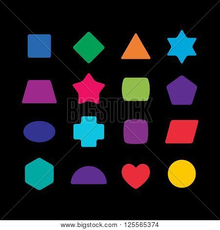 Geometric Colorful Rounded Corners Shapes Set For Learning Toys.