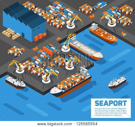 Aerial view of harbor waterfront and maritime terminal with container ship loading isometric poster abstract vector illustration