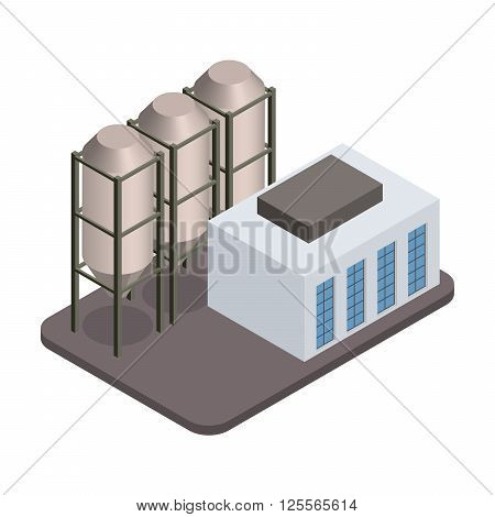 Vector isometric industrial factory buildings icon. Factory Landscape.