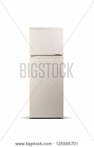 Beige refrigerator isolated on white. Fridge freezer