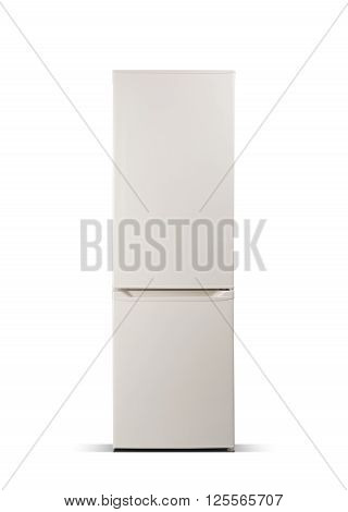 Beige refrigerator isolated on white, fridge freezer