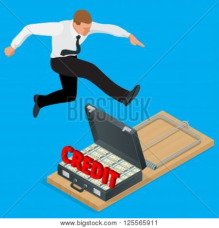 Businessman trying to avoid credit finance banking. Style money isometric. Credit loan trap concept. Mousetrap with Lot of money in a suitcase. Flat 3d isometric business concept.