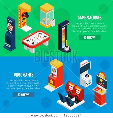 Slot machines 2 isometric banners webpage design with video games to play online abstract isolated vector illustration