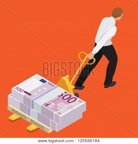 Student debt, Debt, Emotional Stress, Finance, business debt. Getting out of poverty. Flat 3d isometric vector illustration