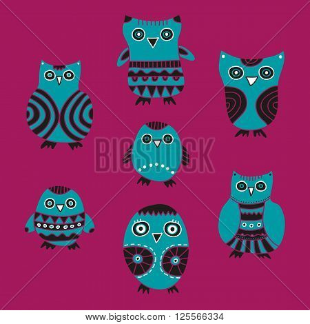 Cute Owls vector illustration. Set of blue cartoon owls and owlets on a pink background