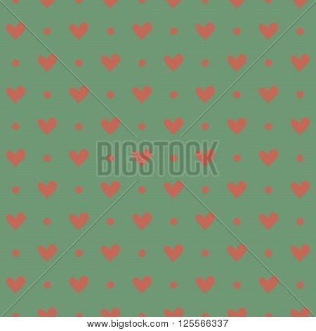 Pink heart seamless pattern in desaturated colors. Vector illustration