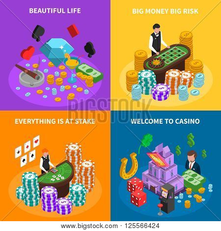 Casino 2x2 isometric design concept with game attributes croupier at poker game and roulette tables  and luck symbols vector illustration